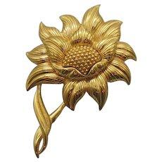 Signed Monet Big BOLD Vintage Golden Sunflower Brooch 3 1/4 Inches Long!