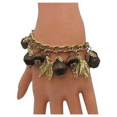 Vintage Carol Dauplaise Wood Golden Leaf Charm Bracelet