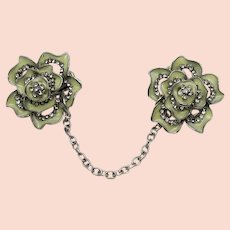 Pretty Vintage Sweater Guard Enameled Rhinestone Flowers