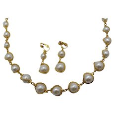 Unworn Vintage Glass Caged Faux Pearl Necklace Matching Clip Earrings