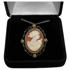 Fine Vintage Floral 12K GF Natural Shell Cameo Convertible Pendant Brooch FREE SHIPPING