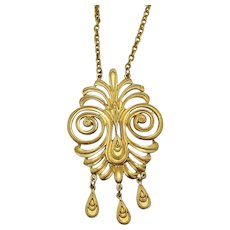 Signed Coro Vintage Weighty Golden Medallion Necklace