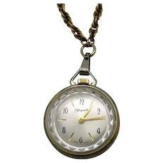 50% Off Rare Signed Elsa Schiaparelli Vintage Pendant Watch Signet Back Necklace 12K Gold Filled