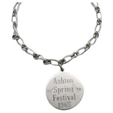 Vintage Sterling Silver 1965 Ashton IL Spring Festival Charm Bracelet