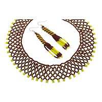 Unusual Glass Hand Beaded Collar Necklace Pierced Earrings Set FREE SHIPPING