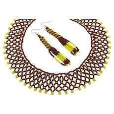 Unusual Glass Hand Beaded Collar Necklace Pierced Earrings Set