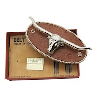 Cool Vintage Western Belt Caddy Figural Metal Steer Leather Holder Unused Original B