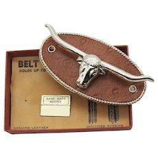 Cool Vintage Western Belt Caddy Figural Metal Steer Leather Holder Unused Original B