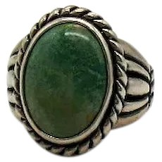 Signed Carolyn Pollack Vintage Green Turquoise Sterling Silver 925 Ribbed Ring Bold!