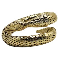 Signed Whiting & Davis Early Vintage Figural Golden Mesh Coiled Snake Bracelet