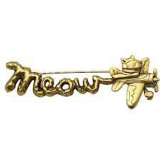 "Adorable Vintage Signed AJC Figural 'Meow"" Sky Writing Kitty Cat Airplane Brooch"