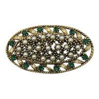 50% Off Vintage Costume Jewelry Golden Glass Pearl Emerald Rhinestone Brooch