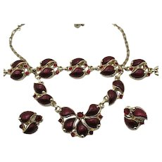 Stunning Vintage Costume Unsigned Parure Cherry Red Rhinestones Thermoset Necklace Bracelet Earrings Set FREE SHIPPING