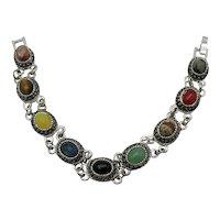 Awesome Vintage Gemstone Cabochon Silver Plate Bracelet Unworn FREE SHIPPING