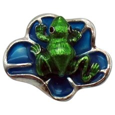 Heavy Vintage Costume Figural Frog on a Lilly Pad Convertible Brooch Pendant Necklace