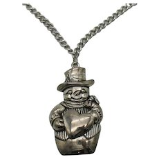 Bold Vintage Signed Gorham Costume Jewelry Silver Plate Large Figural Snowman Pendant Necklace