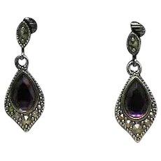 BOOK Signed Avon 'Romantic Splendor 1997' Silver Amethyst Glass Clip Earrings