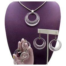 Signed Brighton Lucite Etched 'Lava Lounge' Vintage Parure Necklace Bracelet Pierced Earrings Set