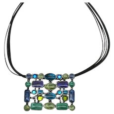 Signed Chico's Vintage Rhinestone Enameled Modernistic Pendant Leather Necklace