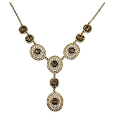 Bold Vintage Costume Jewelry Heavy Signed M Crystal Brands Rhinestone Necklace Fall Colors Citrine Cognac Stones RUNWAY