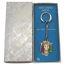 New In Box 1960s Vintage 'Holy Family Medal' Signed Italy Enameled Embossed Key Chain in Original Box