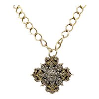 Bold Signed Art Arthur Pepper Vintage Maltese Cross Mixed Metals Necklace FREE SHIPPING