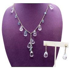 Amazing Vintage Faceted Lucite Crystal and Blue Briolette Beaded Necklace Pierced Earring Jackets Set
