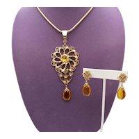 Fabulous Vintage Citrine Lucite Stone Metal Work Scrolls Glass Rhinestone Necklace Clip Earrings Set