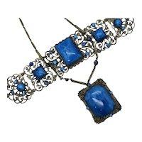 Stunning Art Deco Art Glass Stone Cabochon Vintage Rhinestone Filigree Metal Necklace Bracelet Set