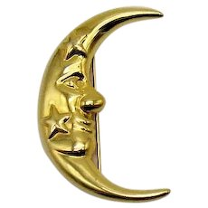 Signed Vittorio Ceccoli Bold Vintage Figural Man in the Moon Star Golden Brooch