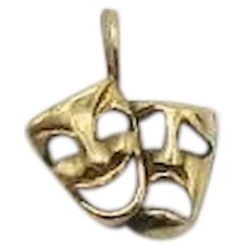 Petite Awesome 14K Gold Vintage Comedy & Tragedy Theater Mask Charm or Pendant FREE SHIPPING