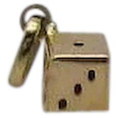Petite 14K Gold Vintage Figural Dice Charm or Pendant