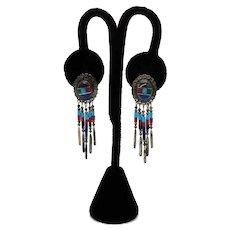 Signed TK Emerson Navajo Sterling Silver 925 Native American Indian Gemstone Pierced Dangle Earrings
