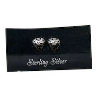Signed Jezlaine Petite Sterling Silver 925 Vintage Heart Filigree Pierced Earrings Original Card Free Shipping