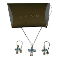 Rare Book Signed Avon Vintage Sterling Silver Turquoise Cross Necklace Pierced Earrings Set Original Box UNWORN!