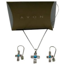Rare Book Signed Avon Vintage Sterling Silver Turquoise Cross Necklace Pierced Earrings Set Original Box UNWORN!