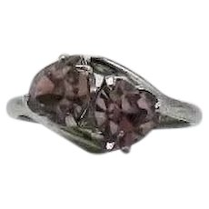 Signed MH McGrath Hamin Vintage Nickel Silver Lavender Heart Shaped Rhinestone Bypass Ring