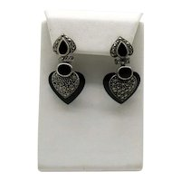 Vintage Signed CW 925 Sterling Silver Onyx Marcasite Heart Pierced Earrings Free Shipping