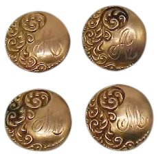 Rare Antique Victorian 14K Gold Button Covers or Shirt Studs Set of 4
