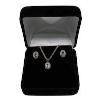 Vintage Aquamarine 14K Gold Necklace Pierced Earrings Set