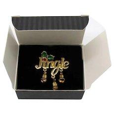 Signed Avon Vintage Jingle Bells Pin 1995 Christmas Clutch Pin Unworn Original Box