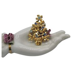 Signed Avon Vintage Christmas Tree Bow Brooch 1992 Aurora Borealis Rhinestones Unworn 2 ½ Inches Long!