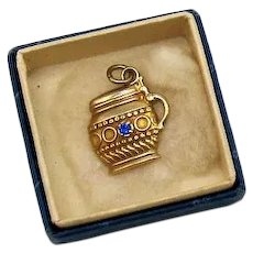 Vintage 1940s 10K Gold Signed Sapphire Gemstone Cup Charm or Pendant Original Box