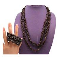 Vintage Brown Koa Seed Hawaii Necklace Stretch Bracelet Set FREE SHIPPING