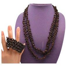 Vintage Brown Koa Seed Hawaii Necklace Stretch Bracelet Set
