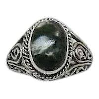 Beautiful Green Gemstone Vintage Sterling Silver 925 Bali Style Ring Unworn Free Shipping