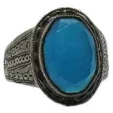 Art Deco Vintage Signed ELYAR Sterling Silver Faceted Chalcedony Gemstone Ring Unisex Size 10 3/4