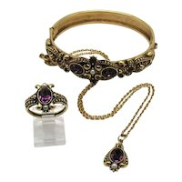 BOOK Rare Parure Signed Avon Vintage Queensbury 1974 Necklace Bracelet Ring Set FREE SHIPPING