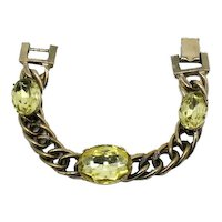 50% Off Signed Kafin Vintage Chunky HUGE Lemon Yellow Rhinestone Link Bracelet