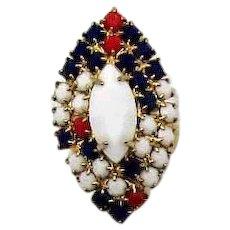 Unusual Vintage Milk Glass Rhinestones Red White Blue Rhinestone Patriotic Ring FREE SHIPPING